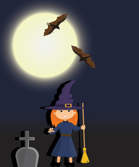 Witch in a graveyard night