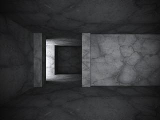 Dark concrete interior background. Dark room abstract architectu