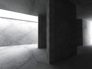 Dark concrete interior. Empty room. Architecture background