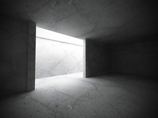 Abstract empty dark room interior with concrete walls. Architect