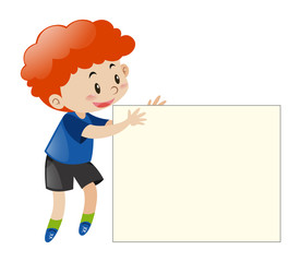 Red hair boy holding blank paper