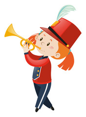 Girl in band playing trumpet