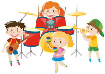 Children playing music in band