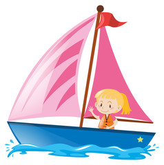 Girl in pink sailboat