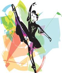 Drawing of Abstract ballerina dancing
