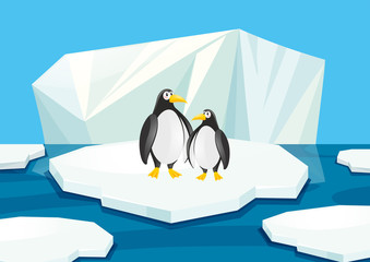 Two penguins standing on ice