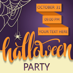 """Halloween party poster. Lettering """"Halloween"""". 31 october. Placard for a party on All Saints Day. Flyer for a party. vector illustration"""