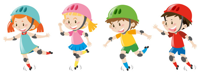 Four kids wearing helmet