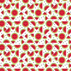 Seamless watermelon pattern, tileable and endless seasonal melon pattern with part of melon and seeds