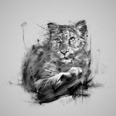 painted lying monochrome panther