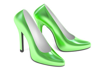 green high heel shoes, 3D rendering