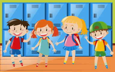 Four children in locker room