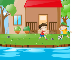 Scene with two boys playing soccer