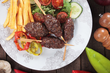 Kofta kebab with french fries