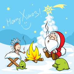Merry Xmas - Santa with baby Jesus sitting by the fire and smokes Indian peace pipe, vector illustration cartoon