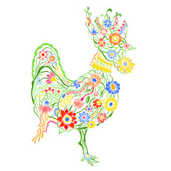 floral ornate rooster