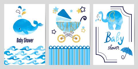 Baby shower boy set. Vector invitation card design.