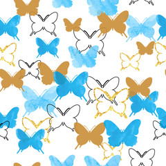 Seamless pattern with blue, black and glittering golden butterflies. Romantic celebration vector background