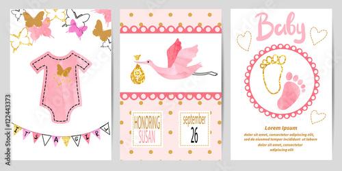 Baby shower girl set vector invitation card design imagens e vector invitation card design stopboris Gallery