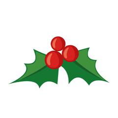 Christmas mistletoe icon in flat style.