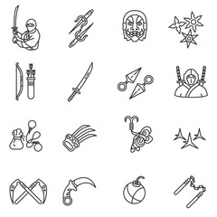 Ninja icons set, line style. ninja weapons collection. warrior attributes, isolated vector linear symbols