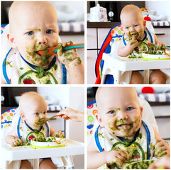 Collage photos of baby's first solid food