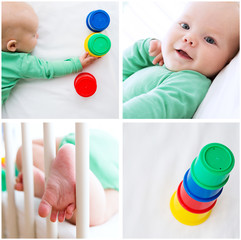 Collage Photos of Baby Child Playing and Discovery