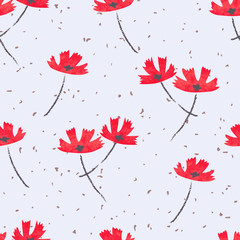 Abstract red flowers seamless pattern. Vector floral background.
