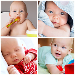 Collage of photos baby child daily routine, development, employm