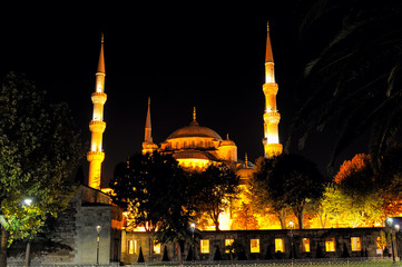 Night view of Sultan Ahmed Mosque in Istanbul Turkey