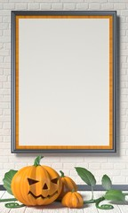 Jack O Lantern pumpkin, green leafs and mock up blank poster on