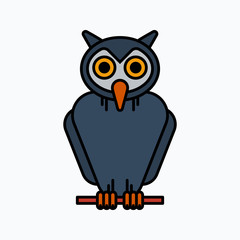 Owl Halloween illustration, Vector icon