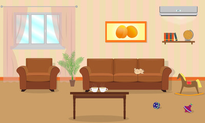 Living room interior in orange colors  including a sofa, armchai