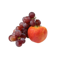 Fruits composition - Pink grape cluster and bright red apple isolated on white background