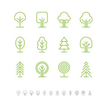 Tree icons set 1
