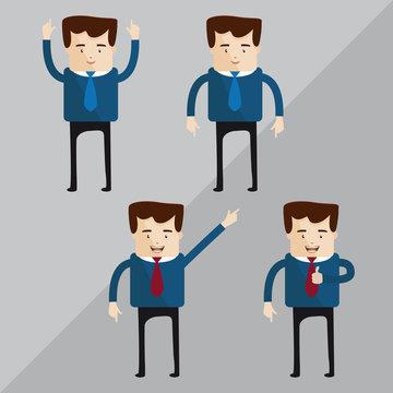 Quatro personagens com diferentes expressões e gestos do mundo administrativo.