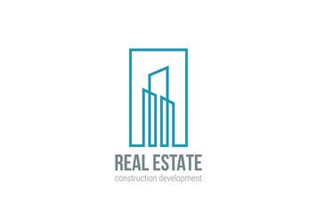 Real Estate Logo vector Linear Building Construction icon