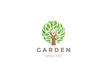Green Leaves Tree Logo design vector. Eco Garden Logotype icon
