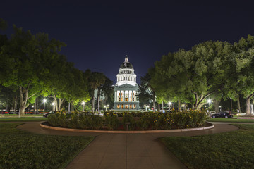 Night View of the California State Capitol Building