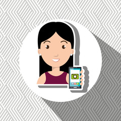 woman cellphone camera images vector illustration eps 10