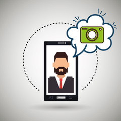 cartoon man smartphone camera vector illustration eps 10