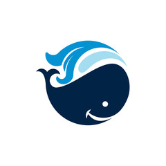 Cute Circle Whale Big Fish Ocean Life Logo