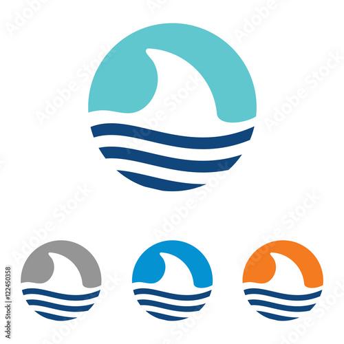 Abstract Shark Fin Big Fish Logo Symbol Template Stock Image And