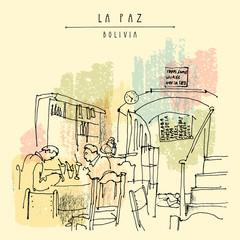 Cafe in La Paz, Bolivia, Latin America. Travel hand drawn vintage postcard