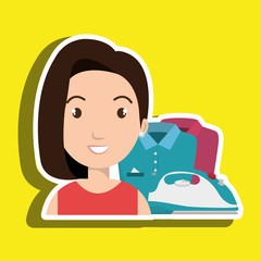 cartoon woman clothes ironing vector illustration eps 10