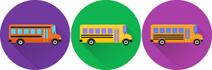 Set of flat icons school buses with long shadow on colorful backgrounds. Vector illustration.