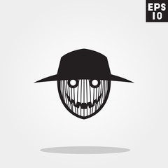 Scarecrow monster face for halloween icon in trendy flat style isolated on grey background. Id card symbol for your design, logo, UI. Vector illustration, EPS10.