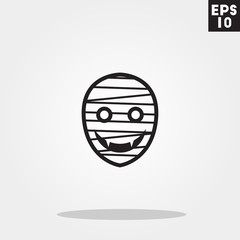 Mummy monster face for halloween icon in trendy flat style isolated on grey background. Id card symbol for your design, logo, UI. Vector illustration, EPS10.