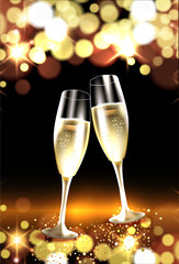 Two glasses of champagne against bokeh lights background. Christmas and New Year celebation card
