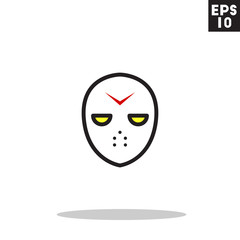 Hokey mask serial killer monster face for halloween icon in trendy flat style isolated on grey background. Id card symbol for your design, logo, UI. Vector illustration, EPS10. Colored.